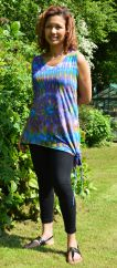Side tie tie dye top purple