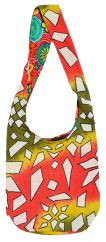 Long handled geometric tie-dye beach bag green/orange