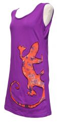 Light weight stretch cotton sleeveless gecko tunic purple