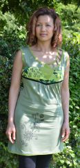 Cut out detail neckline sleeveless tunic pale green