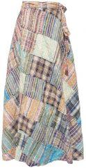 Seersucker Patchwork Wrapover Skirt