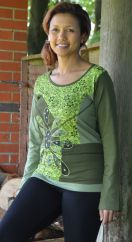 Applique large flower long sleeve top green
