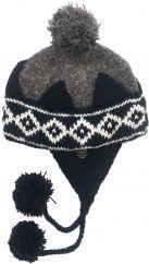 Pure wool half fleece lined crown bobble ear flap Brown/Black