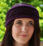 Fleece lined - headband - cable - Aubergine