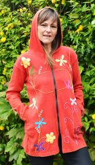 Dragonfly and Flower Long Jacket Red