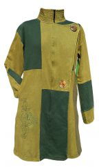 Embroidered Patchwork Coat Green