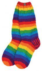 Pure wool hand knit socks Rainbow stripe