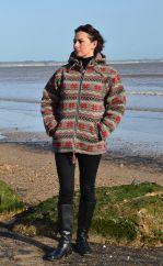 Pure wool snowflake detachable hood jacket browns/red