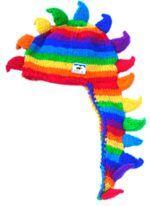 Hand knit half fleece lined dino stripes Rainbow/Rainbow