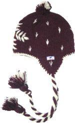 Half fleece lined embroidered snowflake ear flap hat  Aubergine
