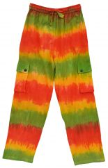 Tie Dyed cotton cargo Trousers Orange/Green