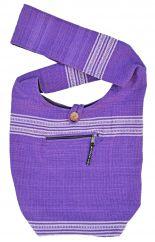 Heavy cotton wide stripe bag purple