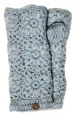 Fleece lined wristwarmer sparkle crochet Powder blue
