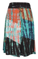 Patchwork tie dye midi skirt dark choice