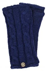Fleece lined wristwarmer cable Dark blue