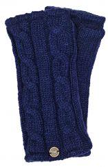 Fleece lined wristwarmer cable Dark blue