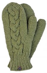 Fleece lined mittens Cable Pear green