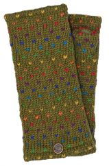 Fleece lined wristwarmer rainbow tick olive Green