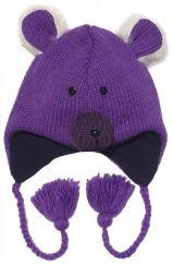 Fully fleece lined hand knit ear flap hat bear purple