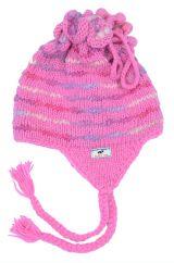 Pure wool tie top/soft wool ear flap hat LUCKY DIP