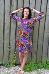 Tropical print 3/4 length sleeve embroidered tunic