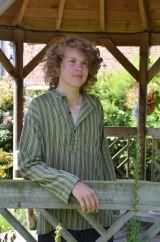 Light weight Striped Cotton Shirt  Greens