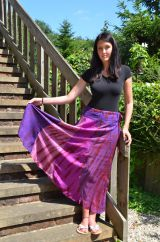 Panel Skirt Tie Dyed Long Pink/Purple