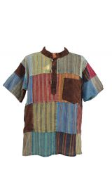 Short sleeved Stonewashed patchwork multicoloured shirt