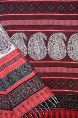 Paisley blanket shawl deep maroon