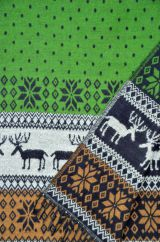 Reindeer Blanket/shawl Green/Camel