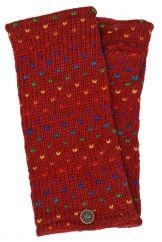 Fleece lined wristwarmer rainbow tick Red