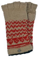 Garva fingerless gloves camel/red/black