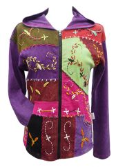 Embroidered patchwork hooded jacket purple