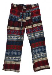 Blanket Draw String -Trousers Red/Blue Pattern