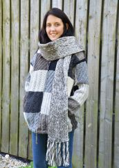 Long Hand knit pure wool Grey/white Scarf