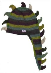 Hand knit half fleece lined dino stripes Green