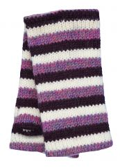 Children's Fleece lined stripes wristwarmers Purples and white