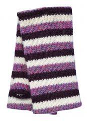 Children's Fleece lined stripes wristwarmers Purples and white