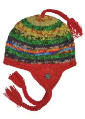Hand knit pure wool electric ear flap hat Bright