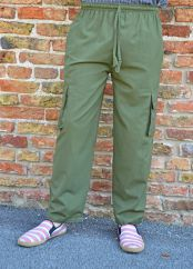 Fine Cotton Combat Trousers Green