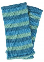 Children's Fleece lined stripes wristwarmers aqua
