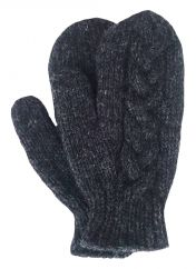 Fleece lined mittens Cable Charcoal