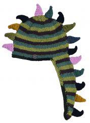 Hand knit half fleece lined dino stripes Green