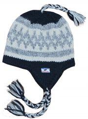 Hand knit diamond ear flap hat Black/Grey/Cream