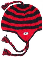 Pure wool half fleece lined stripes Red and Black