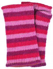 Children's Fleece lined stripes wristwarmers -Pinks