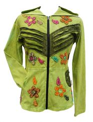 *****SALE*****  'Cut' and applique flower hooded jacket green