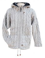 Fleece lined detachable hood diamond rope cable jacket pale grey