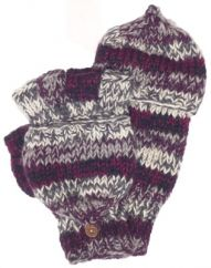 Fleece lined 2 tone stripe  mitt Dark Berry/Grey