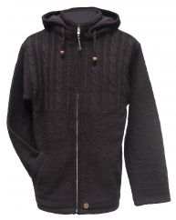 Fleece lined detachable hood jacket half cable Chocolate